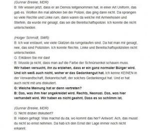 Screenshot aus dem Protokoll vom 78. Verhandlungstag (23.1.2014) im NSU-Dossier auf BR.de: Jürgen Böhnhardt (B) antwortet auf Fragen von Richter Götzl (G) zur rechten Einstellung seines Sohnes Uwe Böhnhardt.