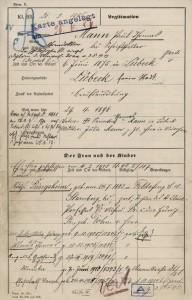Polizeimeldebogen für Thomas Mann, 1905