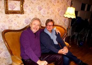 Thomas Gottschalk und Bettina Hasselbring, Leiterin Historisches Archiv, im Studio 6, 15.12.2015