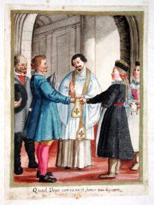 Darstellung der Trauung aus dem Trauungsbuch der Pfarrei Schönau