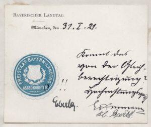 Siegelmarke Bayerischer Landtag 1921