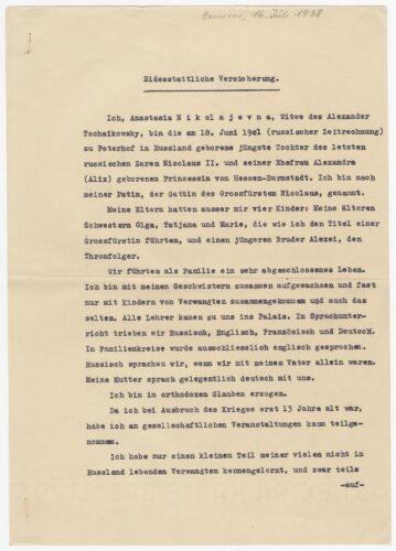 Eidesstattliche Versicherung Anastasias von 1938 Bayerisches Hauptstaatsarchiv Blogparade Deutungskämpfe