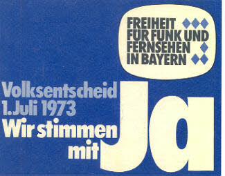 """Aufkleber zum Volksentscheid 1973 """"Wir stimmen mit Ja"""" aus der Realiensammlung des Historischen Archiv, Blogparade Deutungskämpfe"""