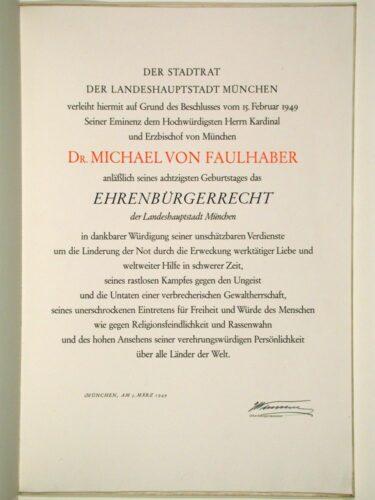 Ehrenbürgerurkunde, 5. März 1949 (EAM NL Faulhaber 9046); Foto: Archiv und Bibliothek des Erzbistums München und Freising. Blogparade #Deutungskämpfe