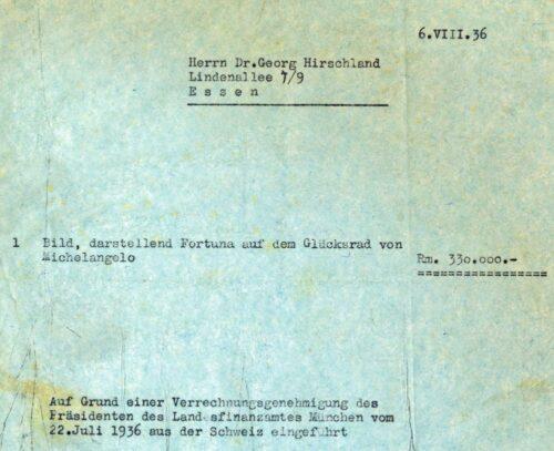 """1936 kaufte der jüdische Essener Bankier Dr. Georg Hirschland (1885–1942) von der Kunsthandlung Julius Böhler für 330.000 Reichsmark ein Michelangelo zugeschriebenes Gemälde """"Fortuna auf dem Glücksrad"""". Das immens teure Kunstwerk musste Hirschland ebenso wie seine gesamte bedeutende Kunstsammlung zurücklassen, als er 1938 über die Niederlande in die USA emigrierte. (Rechnung, 6.8.1936; BWA F43, 74) Blogparade #Deutungskämpfe"""