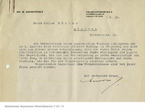 Der jüdische Industrielle Max Meirowsky (1866–1949) war durch den finanziellen Druck des NS-Regimes im Juli 1938 gezwungen, seine Berliner Villa aufzugeben und in eine kleinere Wohnung umzuziehen. Zur Finanzierung seiner Auswanderung in die Schweiz musste er schließlich seine Kunstsammlung – 44 Gemälde und zehn Plastiken – verkaufen. Die zunächst geplante Versteigerung bei Böhler in München kam nicht zustande. Stattdessen wurde die Sammlung dann Ende 1938 im Berliner Auktionshaus H. W. Lange versteigert. (Brief, 7.7.1938; BWA F43, 13). Blogparade #Deutungskaempfe