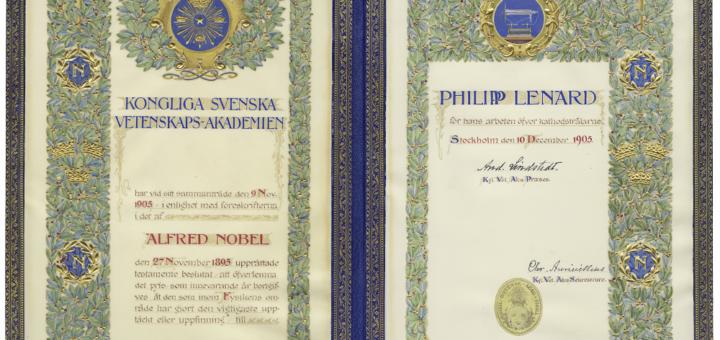 Urkunde über die Verleihung des Nobelpreises für Physik an Philipp Lenard, 10.12.1905 (CD 63809). Blogparade #Deutungskämpfe