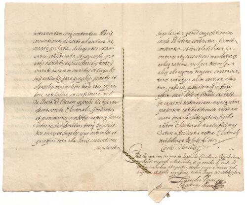 Beglaubigte Abschrift des Friedens von Münster vom 24.10.1648 (Teilvertrag des Westfälischen Friedens) Bayerisches Hauptstaatsarchiv, Kurbayern Urkunden 1614 Deutungskämpfe